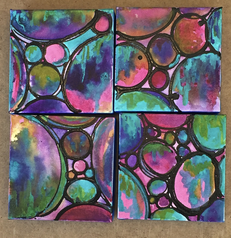 A new series of Circle Compositions Acrylic on Canvas  4 6 x 6 pieces Melynda Van Zee