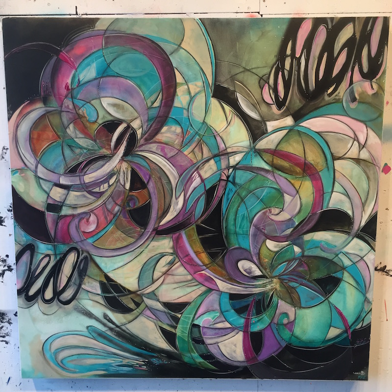 """Collaborative Painting for Paintpushers """"Collision"""" Show  36 x 36 Acrylic on Canvas Artists Chris Vance & Melynda Van Zee © 2016"""